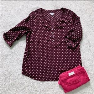 Croft & Barrow Purple 3/4 Sleeve Blouse